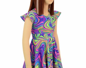Toddlers and Girls Size UV Glow Neon Glow Worm Print Flip Sleeve Spandex Skater Dress  Sizes 2T 3T 4T and 5-12   154935