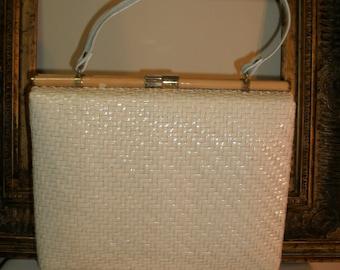 Vintage 1980's Rodo White Rattan Handbag