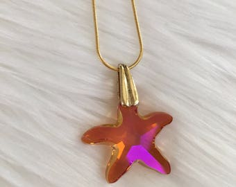 Swarovski Crystal Starfish Gold Necklace
