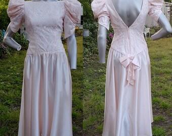 80s Prom Dress, Vintage Bridesmaid Dress, 80s Dress, Lace Dress, 80s Costume, Vintage Costume, Peach Dress, Evening Gown, 80s Party Dress