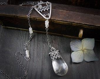 clear quartz  opera necklace