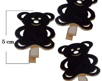 Bear 5 set of 3 cm wooden clothespin