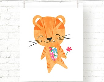 Sweet - Floral - Tiger - Jungle - Baby - Nursery - Kids - Watercolor - Art Print - Wall Art