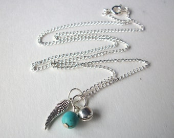 Birthstone Miscarriage necklace, silver angel wing, choice of birthstone and and tinkling bell charm on silver chain infant loss remembrance