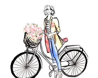 Digital Download - Watercolour Fashion illustration Titled Flower Market Day