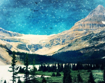 Surreal Landscape Photo - Ethereal Sky and Clouds - Mountains and Trees - Starry Sky - Dreamy Mountain Forest Art