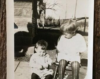 Original Vintage Photograph | Striped Stockings