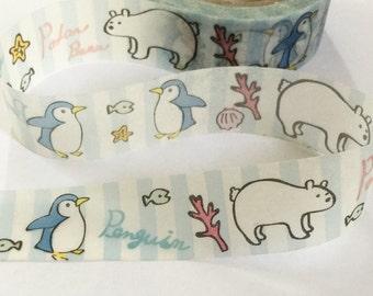 Polar Bear Penguin Washi Tape | Penguin Decorative Tape | Polar Bear Masking Tape | Cute Washi Tape 10m L16