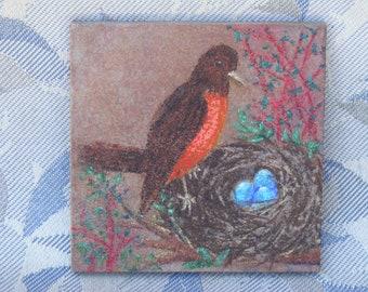 Decorative Tile - Robin's Nest - for Mantle, Shelf, Any-Room Decor! - Spring Feel, Whimsical