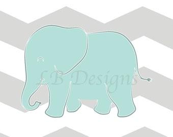 Elephant Nursery Print, Jungle Nursery Decor, Aqua and Gray Nursery, Gender Neutral Nursery Decor - 8x10