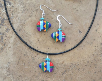 Zuni Fetish style Bear Earrings & Necklace SET (Multi Inlay), beaded with Sterling Silver and Turquoise chips