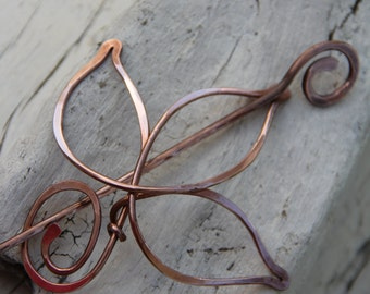 """Hair slide, hair fork, hair pin, copper wire wrap hair pin, hair stick """"Leaf"""""""
