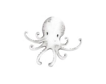 Baby Octopus, Sea Nursery Art,  Pencil Drawing, Sketch, Beach, Ocean Print, Gender Neutral Baby, Nautical, Sea Creatures, Fish, Marinelife