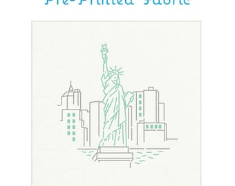 STATUE OF LIBERTY fabric for embroidery, embroidery pattern, embroidery fabric, nyc embroidery pattern, travel souvenir by Studiomme