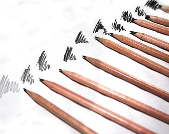 Drawing pencils, Graphite and charcoal, sketching pencils, Drawing media, Set of 10 pencils, Artist gift
