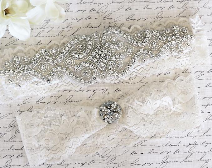 Ivory Wedding Garter, Cinderella garter, princess garter Set NO SLIP grip vintage rhinestones A12S-A19