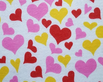"Printed Felt Rectangle: Hearts (9""x12"")"