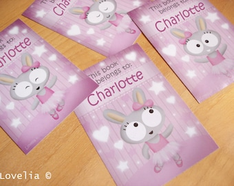 """Personalized Bookplates Stickers """"Bunny Ballerina""""  set of 8"""