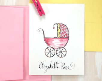 Baby Girl Thank You Cards, Baby Gifts, Custom Baby Stationary, Personalized Stationery Set, Baby Shower Thank You Stationary Set of 10
