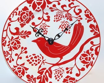 Red Bird Wall Clock - Red and White Home Decor - Unique Wall Decor - Stoneware Ceramic Plate Clock - Kitchen Clock - 2451