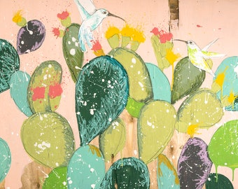 Cactus CANVAS Print, Cactus decor, Cactus gift, Hummingbird print, Hummingbird gift, Birds print, Birds painting, Blush pink decor, #907CA