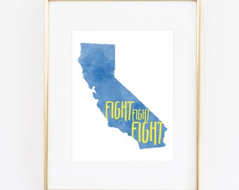 UCLA Bruins Fight Watercolor State Printable (8x10)