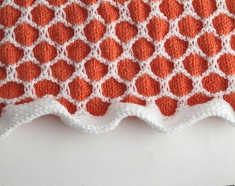 Orange and White Honeycomb Afghan