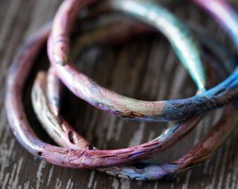 Bangles - Polymer Clay Bangles  - Rustic Jewelry - Primitive Bangles - Purple and Blue - Bead Soup Jewelry
