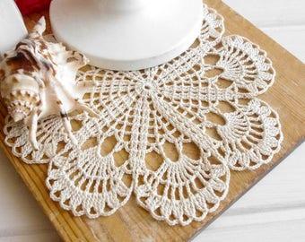 Small crochet doily Ivory lace doilies Cream crochet doilies Doily lace crochet Ivory crochet doilies Wedding decor 307