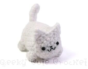 White Kitty Cat Yami Amigurumi Crochet Stuffed Plush Desk Toy
