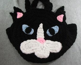 Crochet Pattern - Black Cat Round Tote - Animal Pattern - Crochet Purse - Cat Pattern - PDF - Digital Download