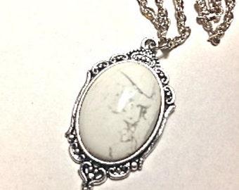 Howlite Crystal Necklace // Howlite Pendant // Crystal Healing // Howlite Gemstone