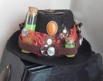 "Black steampunk ""Entomology"" hat"