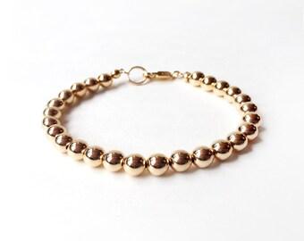 Bracelet - 6mm 14K Gold Filled Bead Bracelet - Everyday Wear - 14K Yellow Gold Ball Bracelet - Simple Gold Bracelet - Gold Beads