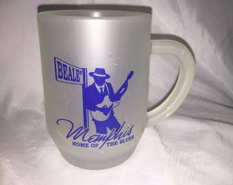 Beale Street Frosted Glass Mug Memphis Home of the Blues 6b
