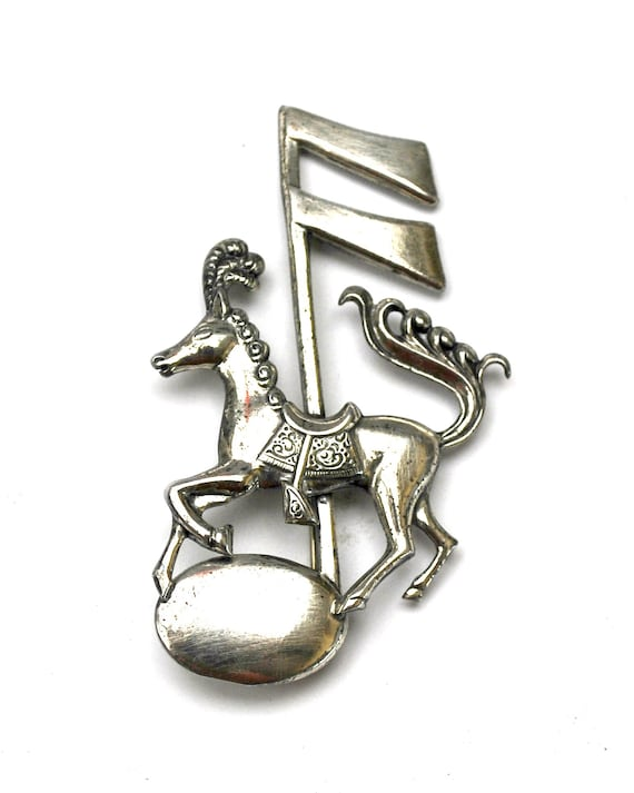 Sterling Carousel horse  Brooch - Designer signed Lang  - Music Note - Figurine Pin