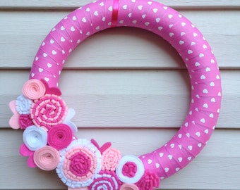 READY to SHIP - Valentine's Day Wreath - Pink Heart Ribbon Wreath - Valentine Wreath - Valentines Day Decoration - Heart Wreath -Heart Decor