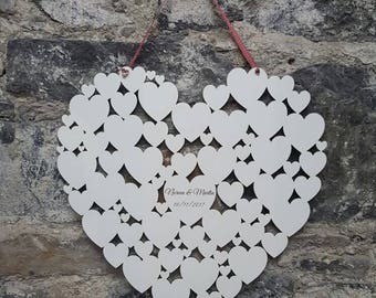 Laser Cut Wooden Guest Book Hearts for Wedding Guests to Sign