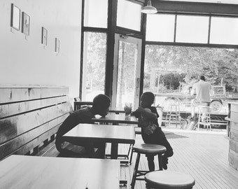black and white photography, boys, photo, art, African American, coffee shop, coffeehouse, silhouette, summer, kids, children, street, decor
