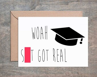 S**t Real Grad. Funny Congratulations Card. Funny Graduation Card. Funny Encouragement Card. Funny Friend Card.