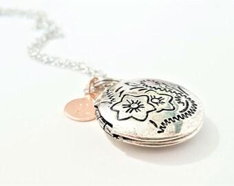 Antique Silver Locket - Rose Gold Bridesmaid Necklace - Flowergirl Locket - Bridesmaid Locket - Personalized Locket - Initial Necklace