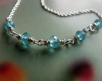 Delicate Sterling Silver Necklace, Wire Wrapped Green Aqua Gemstone Necklace