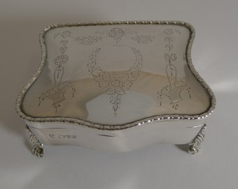 Antique English Sterling Silver Jewelry Box - 1911
