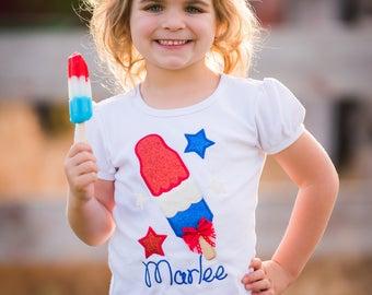 4th of July Shirt - Bomb Pop Shirt -  Patriotic Shirt - Girls Embroidered Shirt - Personalized 4th Of July Shirt - Monogram Shirt