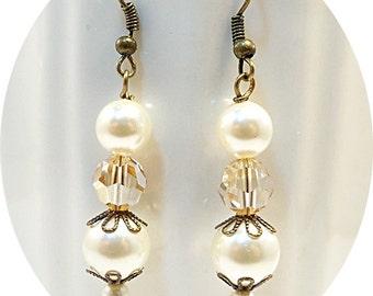 Rustic, Pearl Earrings, Yellow Earrings, Antique Bronze, Bridesmaid Earrings, Bridal Accessories, Wedding, Dangle Earrings, Drop Earrings