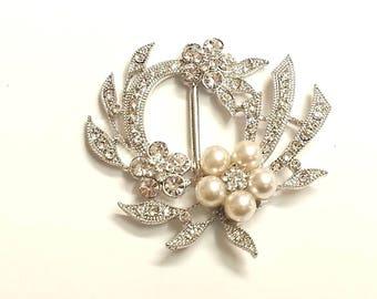 CraftbuddyUS MT64- 54mm Pearl & Crystal Diamante Wedding Topper Brooch Ribbon Slider Buckle