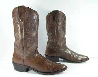 distressed leather cowboy boots womens 8 B M brown nocona vintage western leather