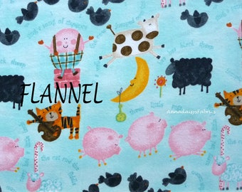 Nursery Rhyme Flannel Fabric, Baby Quilt Fabric, Humpty Dumpty, 3 Pigs, Cow, Sheep, Cat,  A E Nathan Comfy Flannel 0693, Cotton Flannel