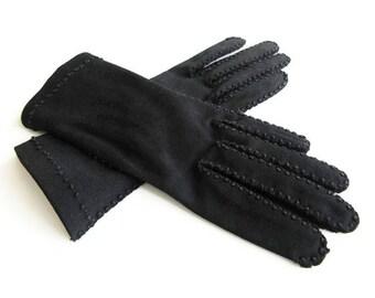Henri Bendel Black Cotton Gloves - French Knot Stitch Detail, Dress Gloves, Evening Gloves, Vintage Gloves, Size 6.5, Size Small