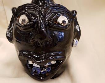Artisan Made Face Jug, Grotesque, Monkey Jug, Barnwell, South Carolina, 2002